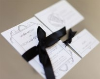 Art deco invitation, map, name tag, RSVP.