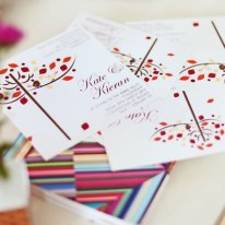 Invitation, RSVP, place settings (CD envelope).